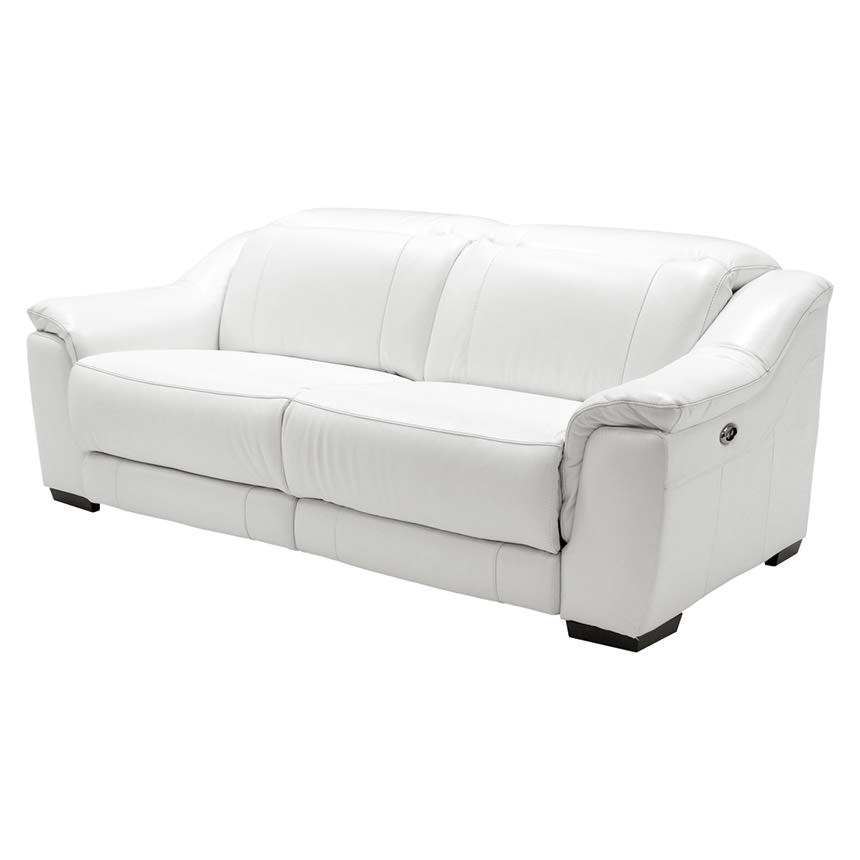 Davis White Leather Reclining Sofa
