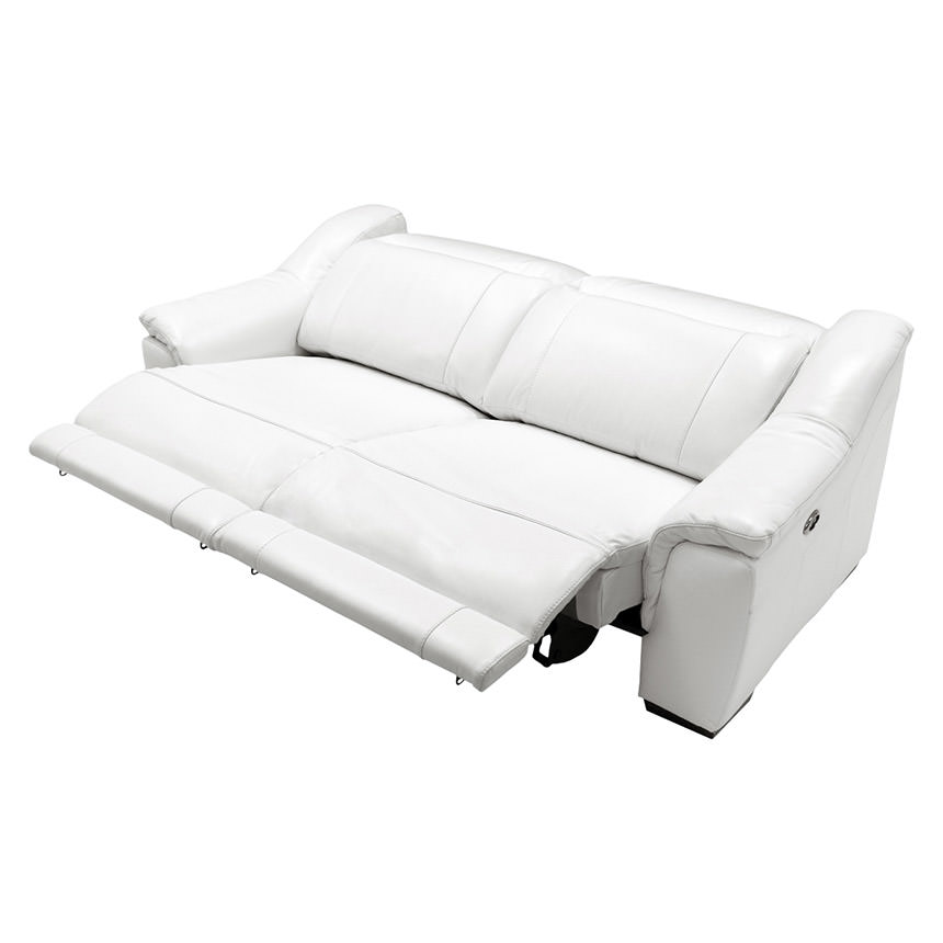 Davis White Power Motion Leather Sofa  alternate image, 5 of 11 images.