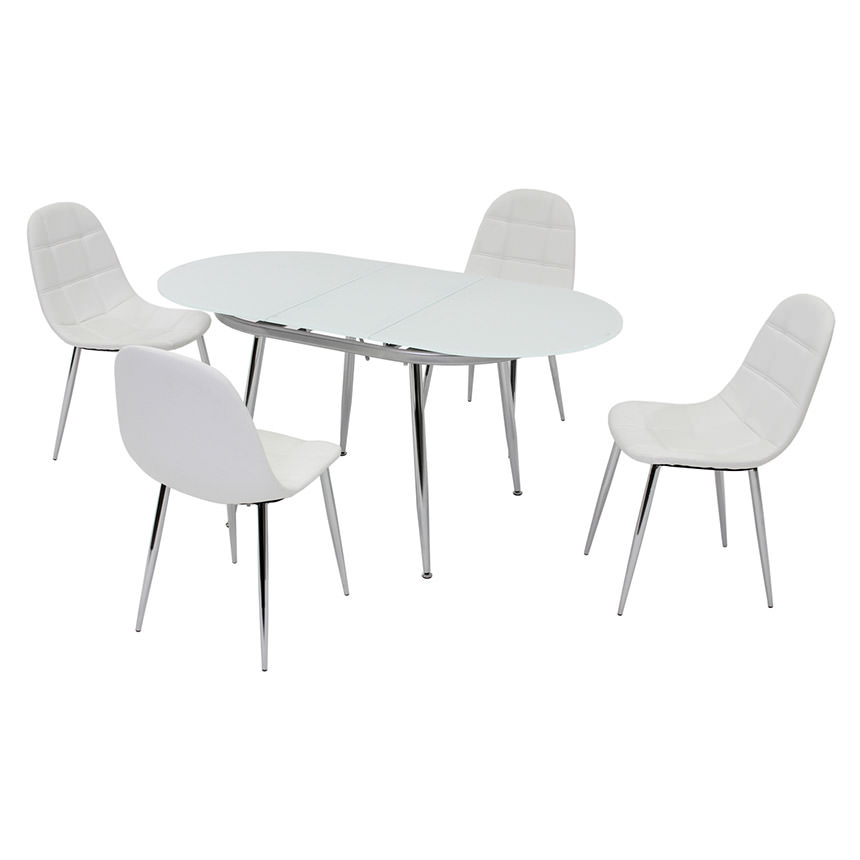 Clotus White 5-Piece Casual Dining Set  main image, 1 of 8 images.