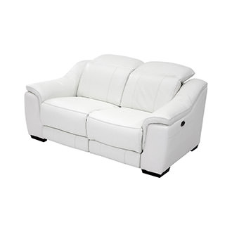 Davis White Power Motion Leather Loveseat