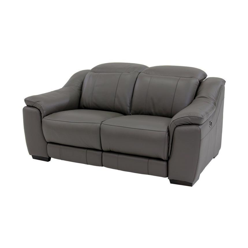 Davis Gray Power Motion Leather Loveseat  main image, 1 of 10 images.