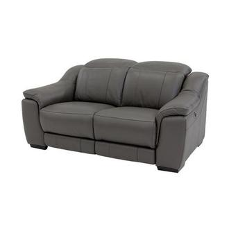 Davis Gray Power Motion Leather Loveseat
