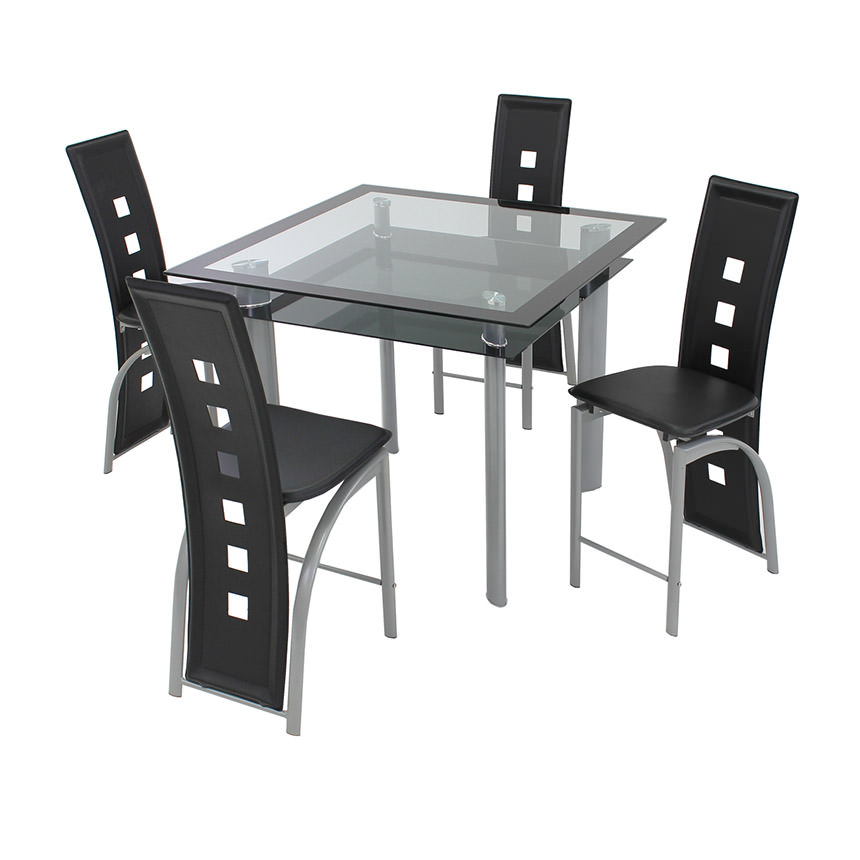 Dominoes Black 5-Piece High Dining Set  main image, 1 of 8 images.