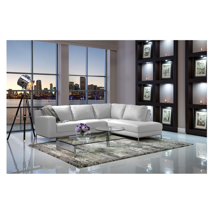 Cantrall White Corner Sofa W Right, El Dorado Furniture Miami