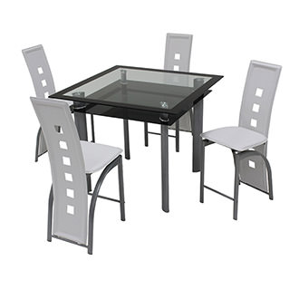 Dominoes White 5-Piece High Dining Set
