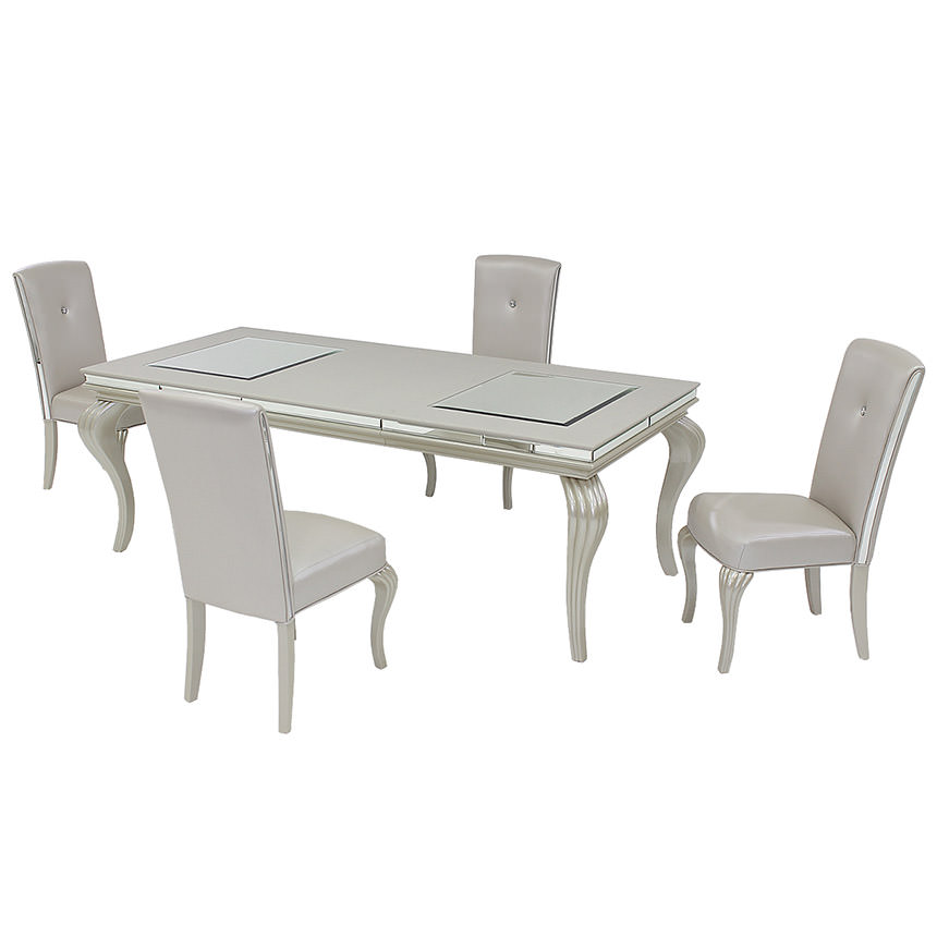 Hollywood Loft Frost 5-Piece Formal Dining Set  main image, 1 of 11 images.