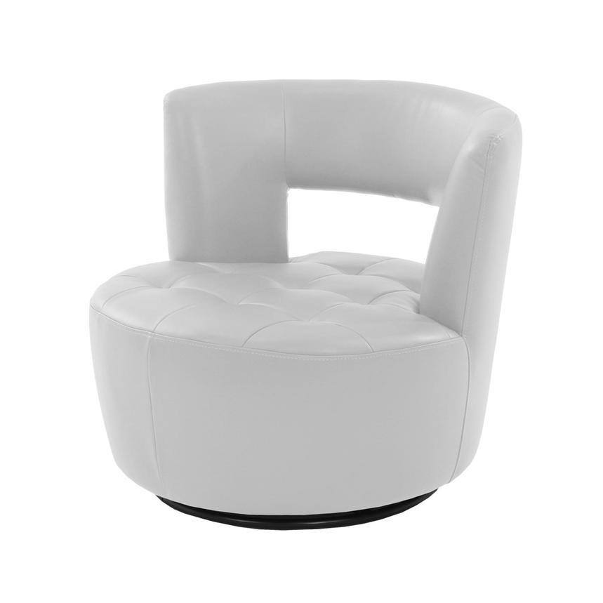Noale White Swivel Accent Chair  main image, 1 of 4 images.