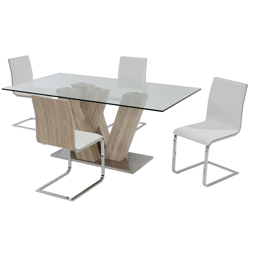 Solimar White 5-Piece Casual Dining Set  main image, 1 of 11 images.