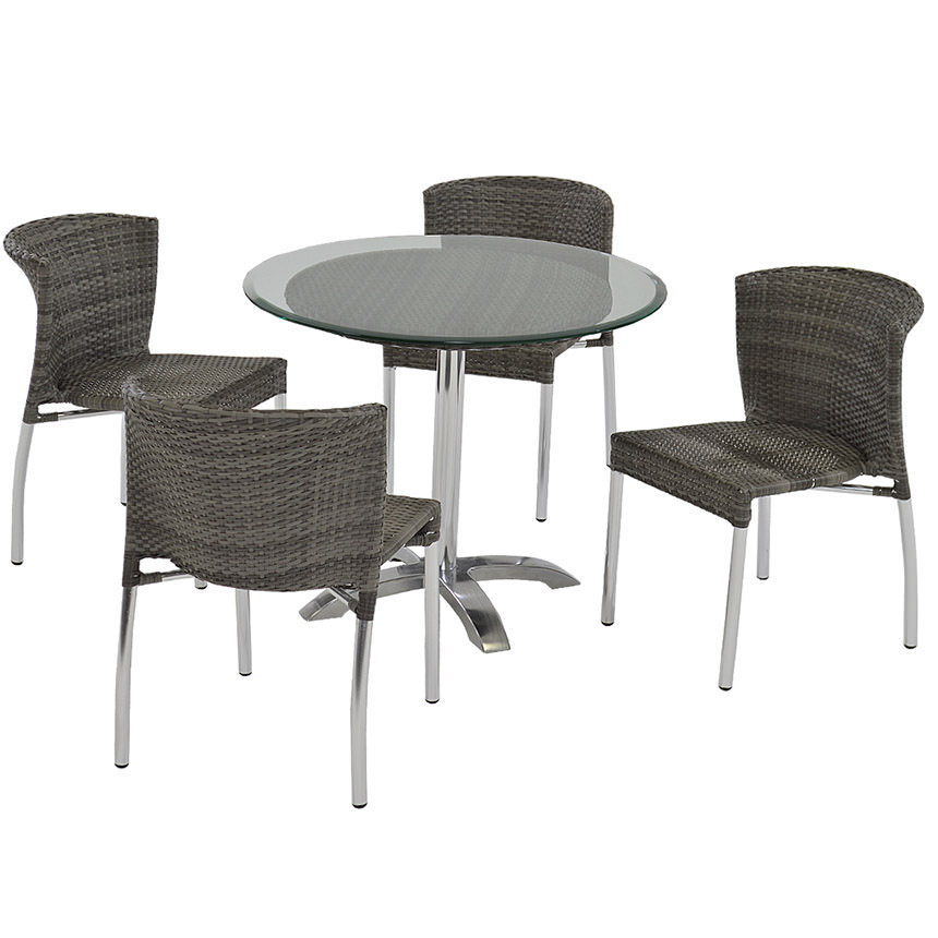 Gerald Gray 5-Piece Patio Set w/10mm Glass Top  main image, 1 of 7 images.