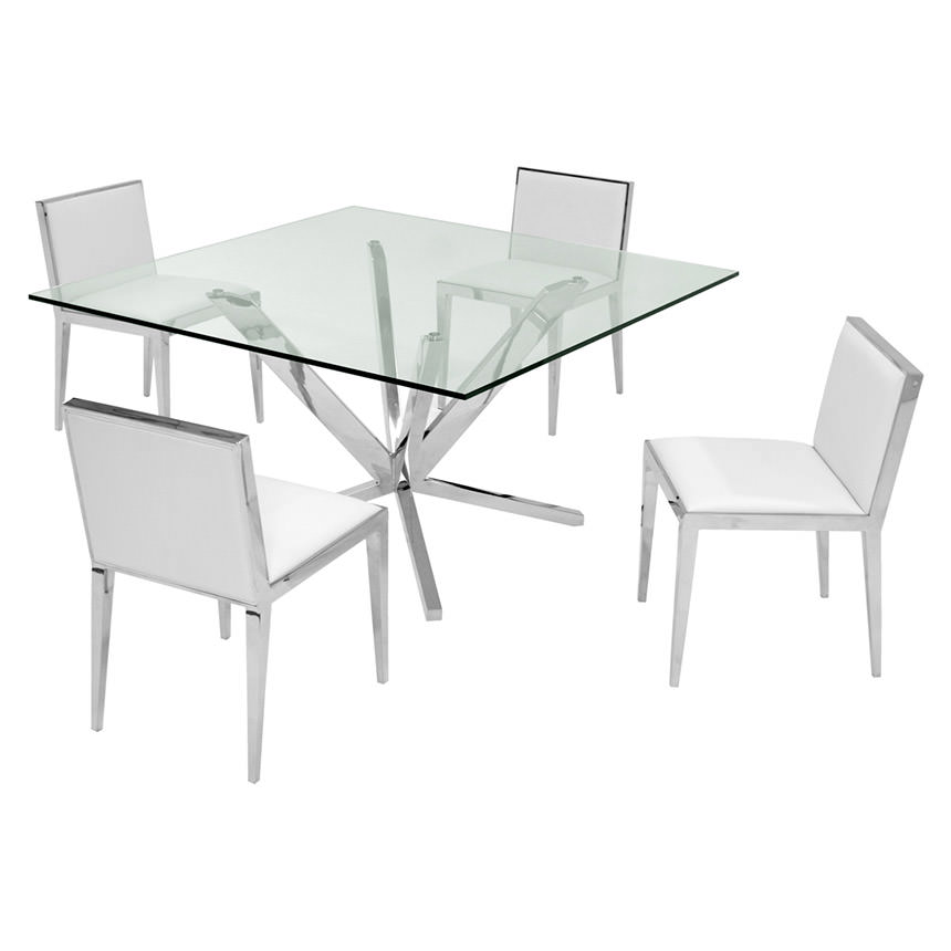 Ghettys White 5-Piece Formal Dining Set  main image, 1 of 7 images.