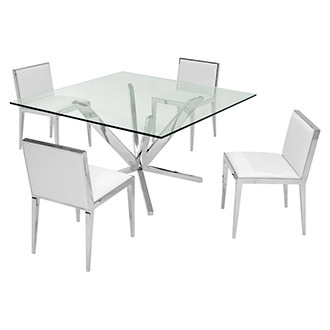 Ghettys White 5-Piece Formal Dining Set
