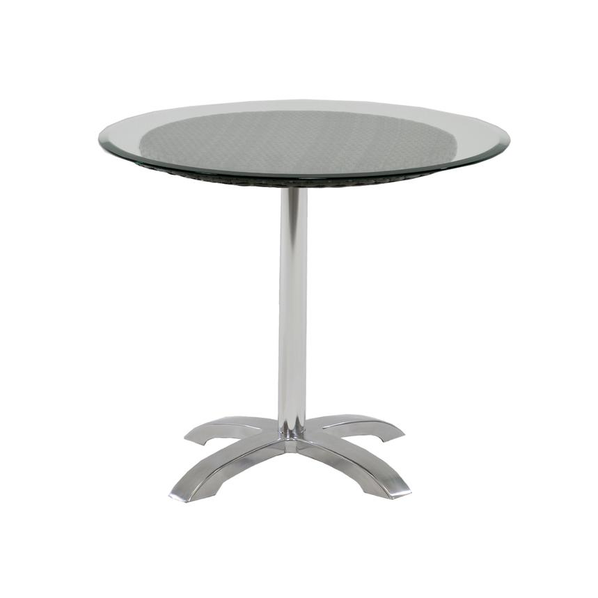 Gerald Gray Round Dining Table w/10mm Glass Top  main image, 1 of 4 images.