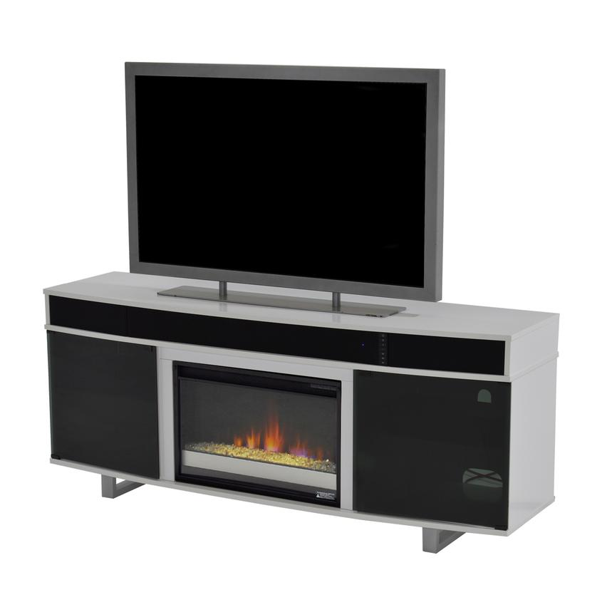 Enterprise White Faux Fireplace w/Speakers  main image, 1 of 6 images.