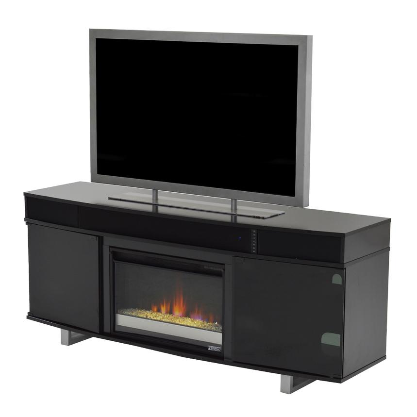 Enterprise Black Faux Fireplace w/Speakers  main image, 1 of 5 images.