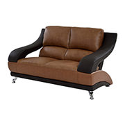 Jedda Camel Leather Loveseat  main image, 1 of 10 images.