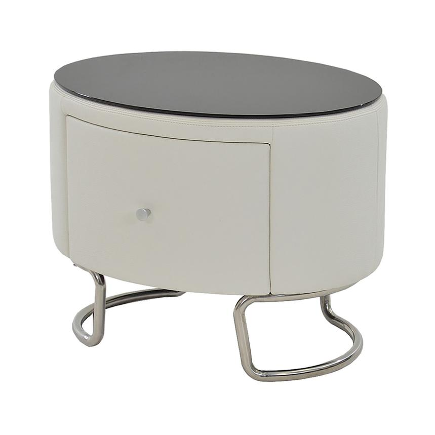 Kolosko White Nightstand w/Glass Top  main image, 1 of 5 images.