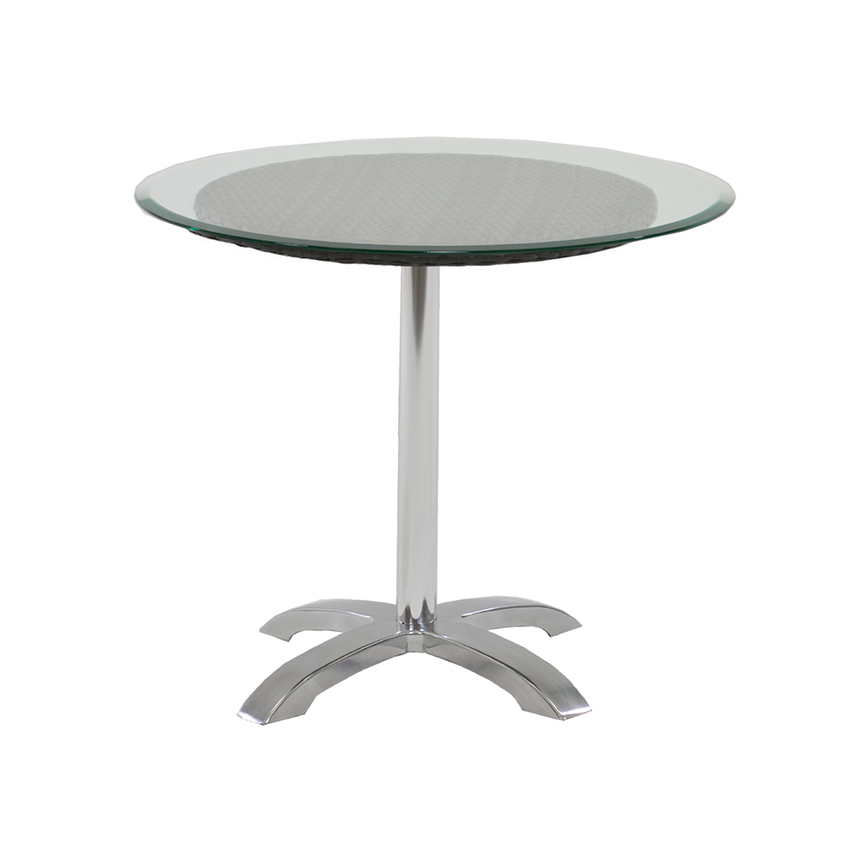 Gerald Black Round Dining Table w/10mm Glass Top  main image, 1 of 3 images.