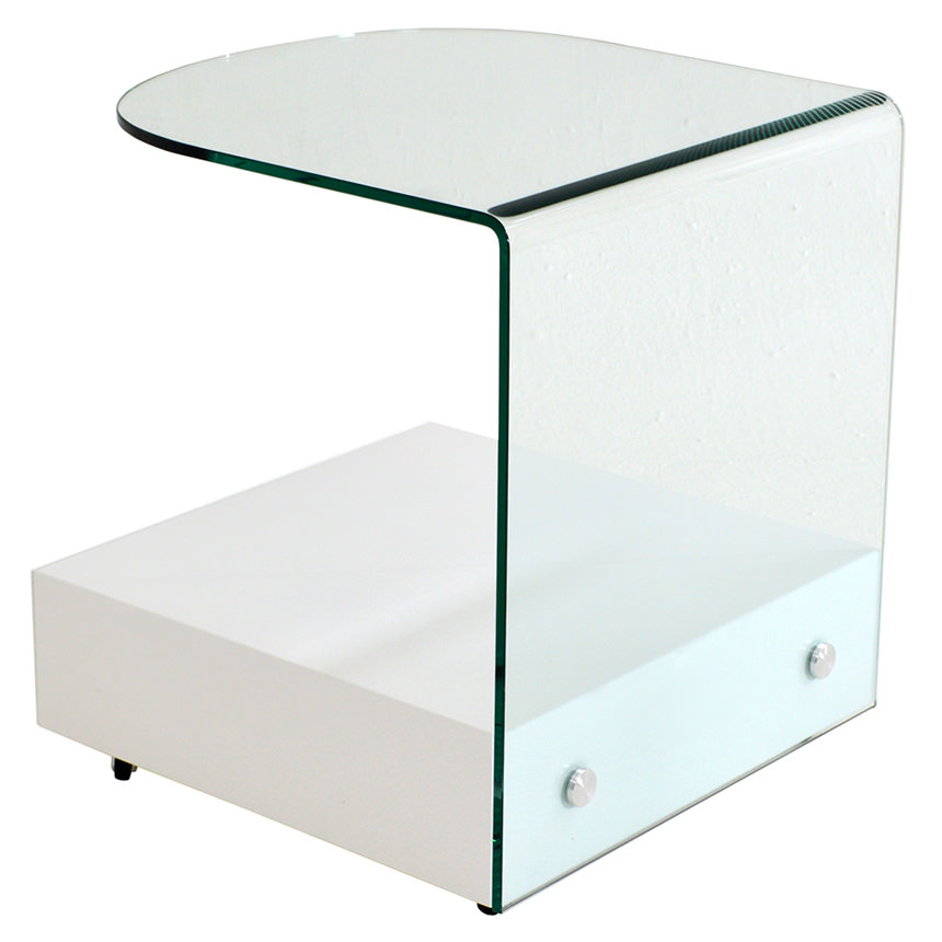 Maria White Side Table w/Casters  alternate image, 6 of 8 images.