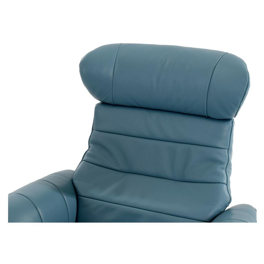 Enzo Blue Leather Swivel Chair  alternate image, 6 of 10 images.
