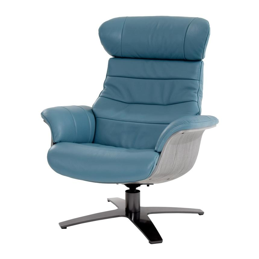 Enzo Blue Leather Swivel Chair  main image, 1 of 13 images.