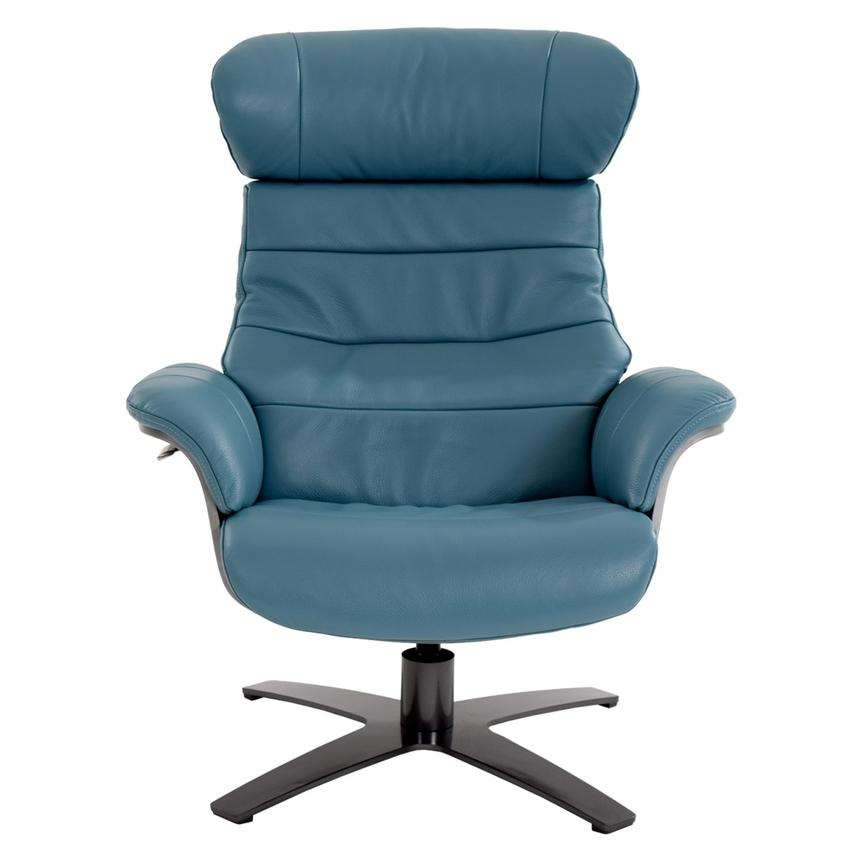 Enzo Blue Leather Swivel Chair  alternate image, 6 of 13 images.