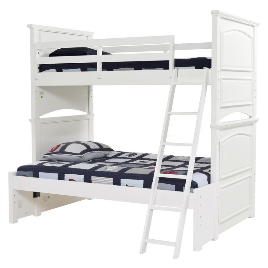 Kailee White Twin Over Full Bunk Bed  main image, 1 of 7 images.