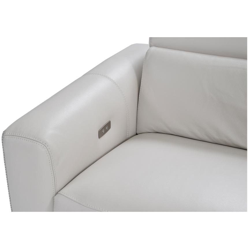 Bay Harbor Light Gray Leather Power Reclining Sectional w/Right Sleeper  alternate image, 5 of 7 images.