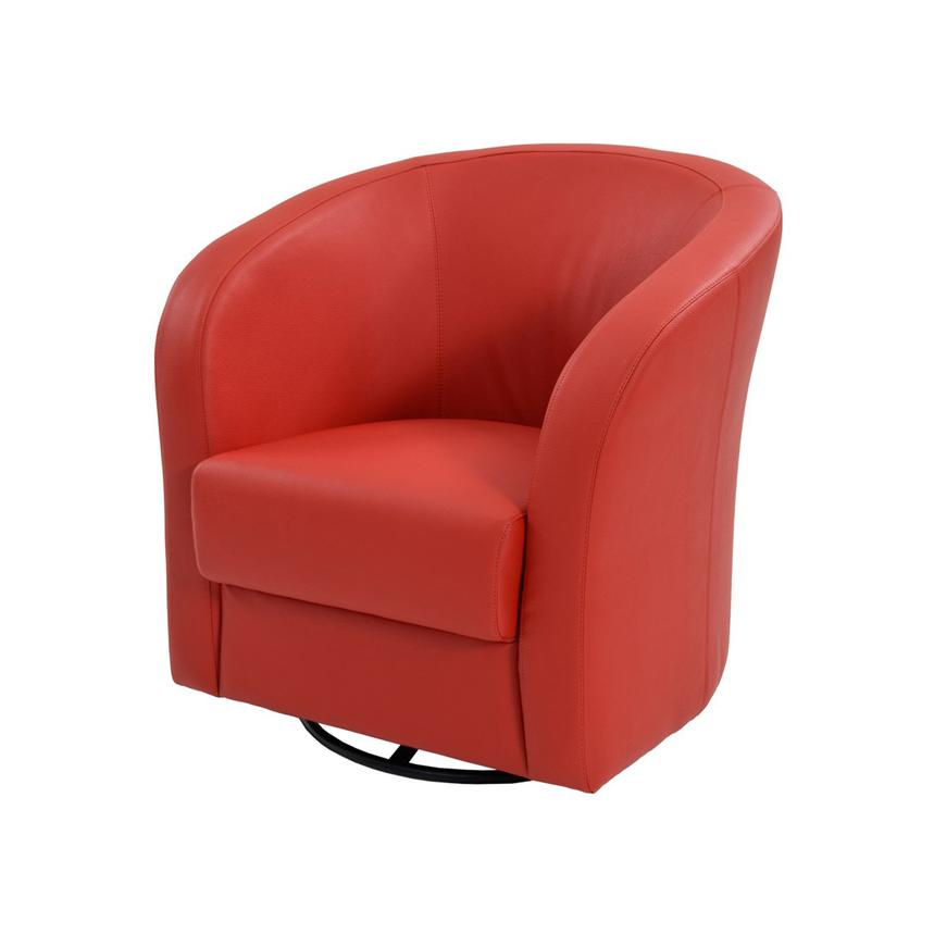 Delia Red Swivel Accent Chair  main image, 1 of 5 images.