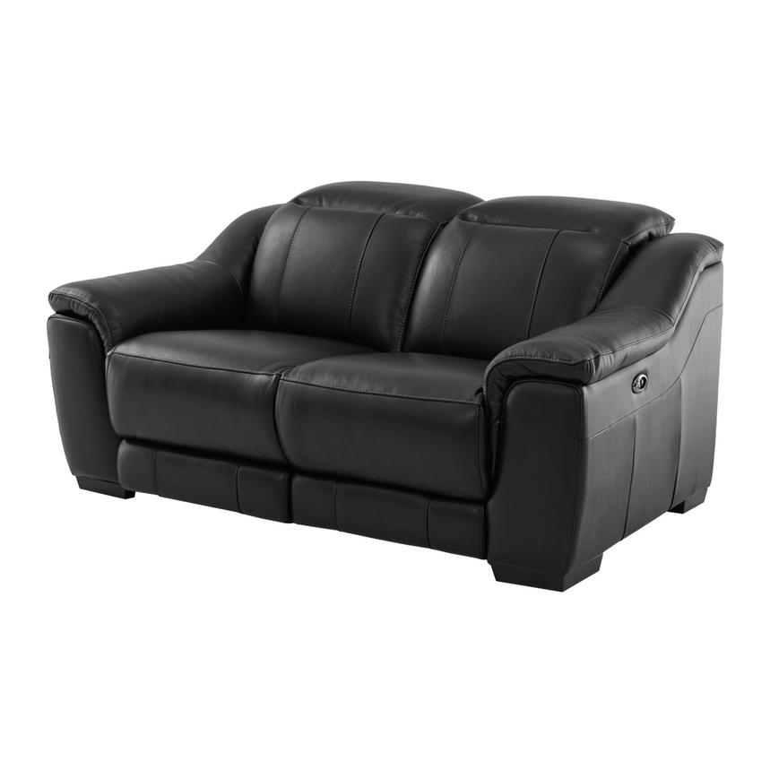 Davis Black Power Motion Leather Loveseat  main image, 1 of 9 images.
