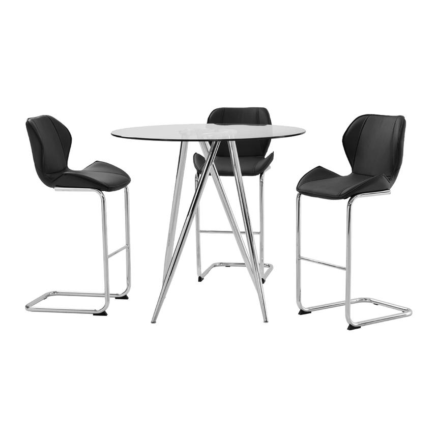 Latika Black 4-Piece High Dining Set  main image, 1 of 8 images.