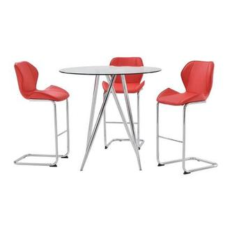 Latika Red 4-Piece Counter Dining Set