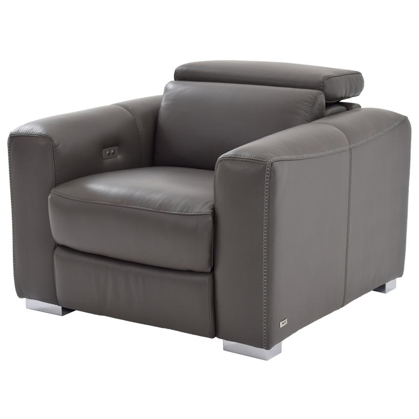 Bay Harbor Gray Power Motion Leather Recliner  main image, 1 of 9 images.