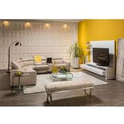 James Cream Power Motion Leather Sofa w/Right & Left Recliners  alternate image, 2 of 9 images.