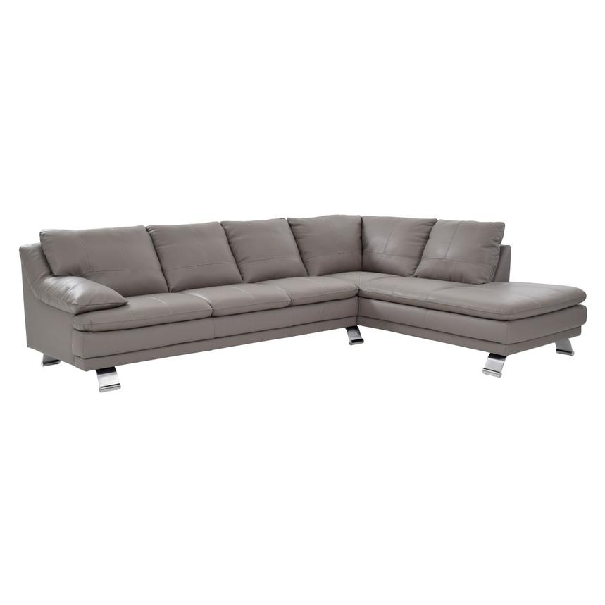 Rio Light Gray Leather Corner Sofa w/Right Chaise  main image, 1 of 8 images.