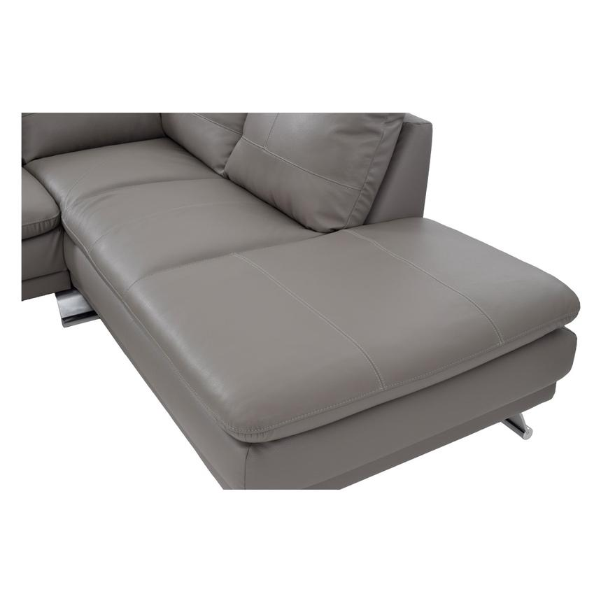 Rio Light Gray Leather Sofa w/Right Chaise  alternate image, 5 of 7 images.