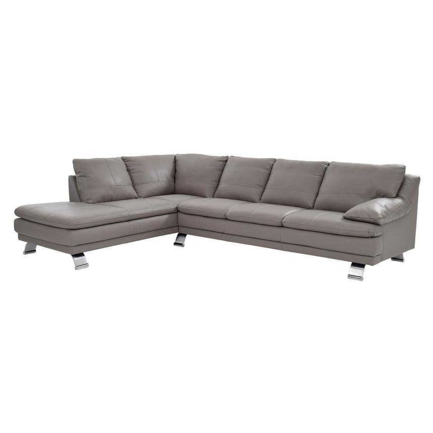 Rio Light Gray Leather Sofa w/Left Chaise  main image, 1 of 7 images.
