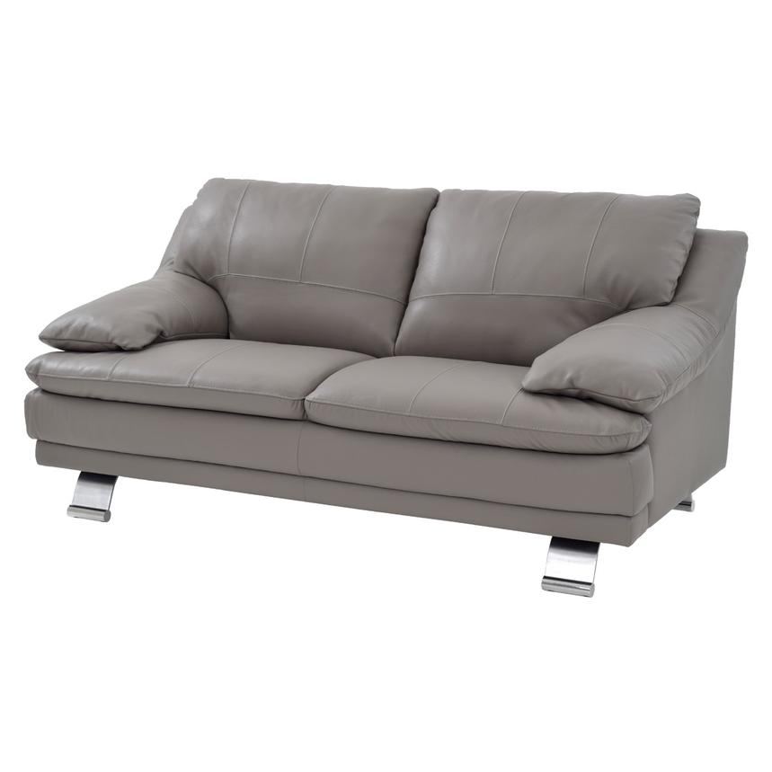 Rio Light Gray Leather Loveseat  main image, 1 of 8 images.