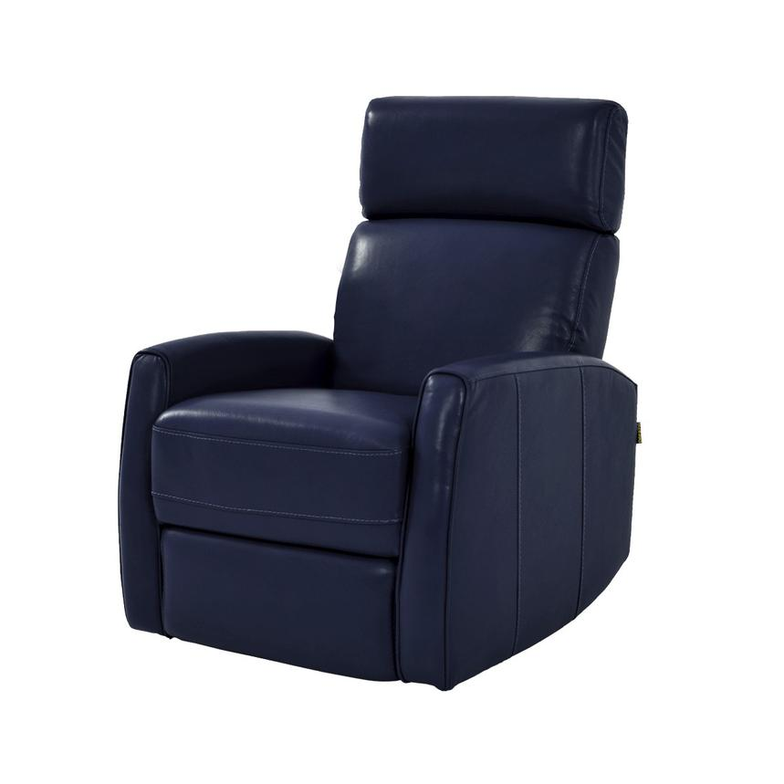 Lucca Blue Power Motion Leather Recliner  main image, 1 of 7 images.