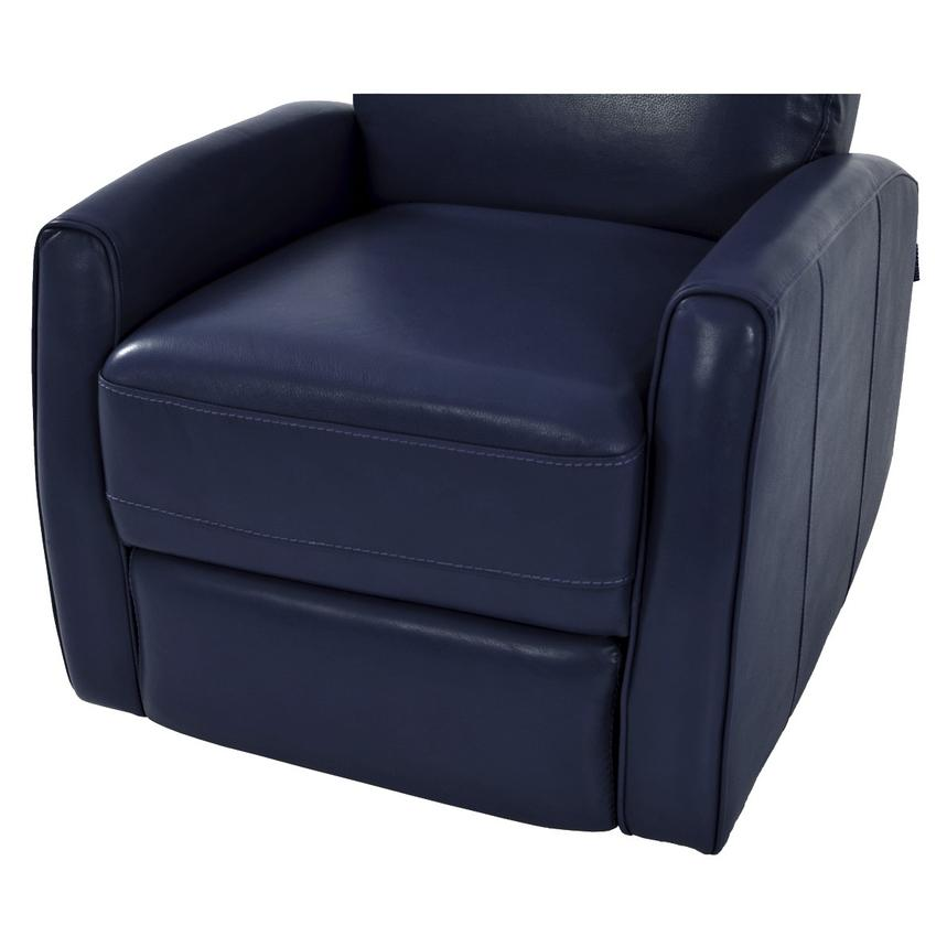 Lucca Blue Power Motion Leather Recliner  alternate image, 6 of 7 images.