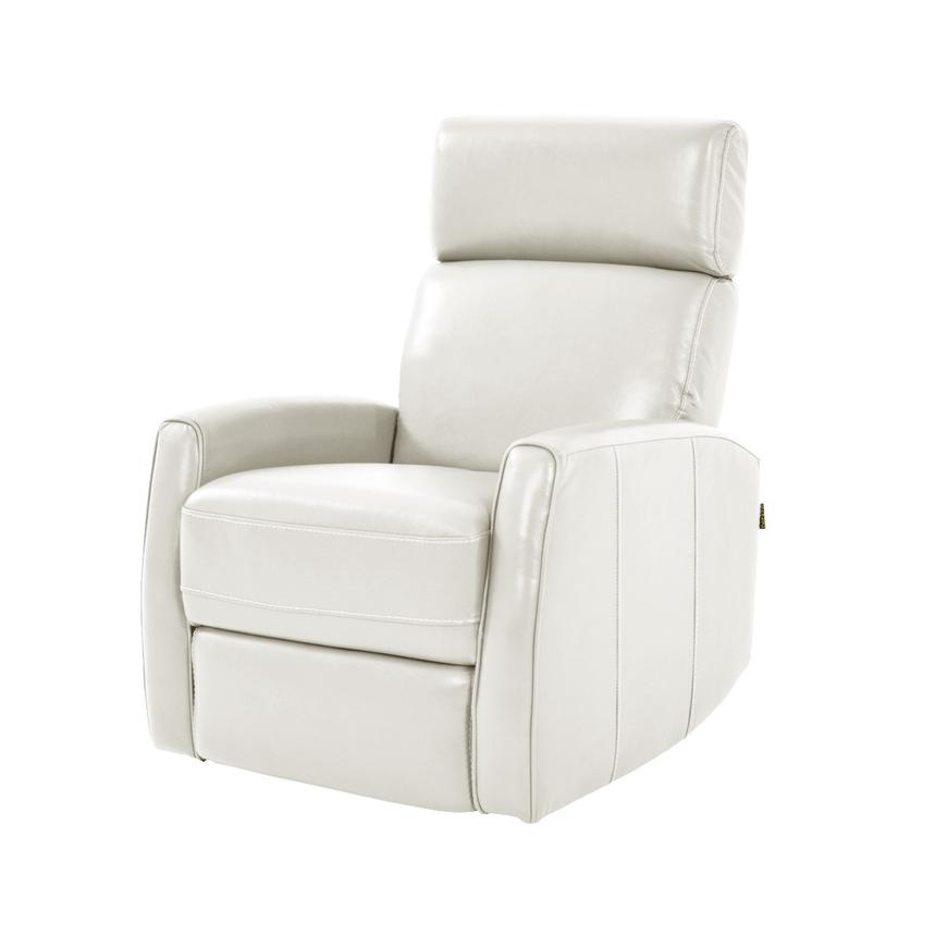 Lucca White Leather Power Recliner  main image, 1 of 8 images.