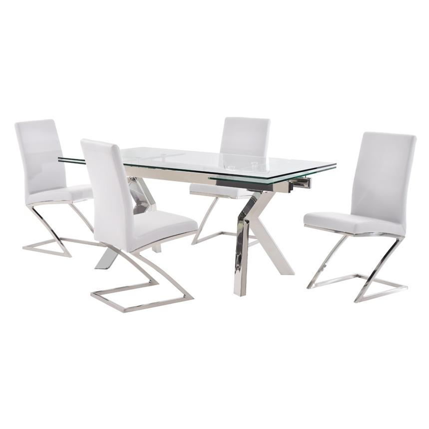 Lynne Clear/Jade White 5-Piece Formal Dining Set  main image, 1 of 12 images.