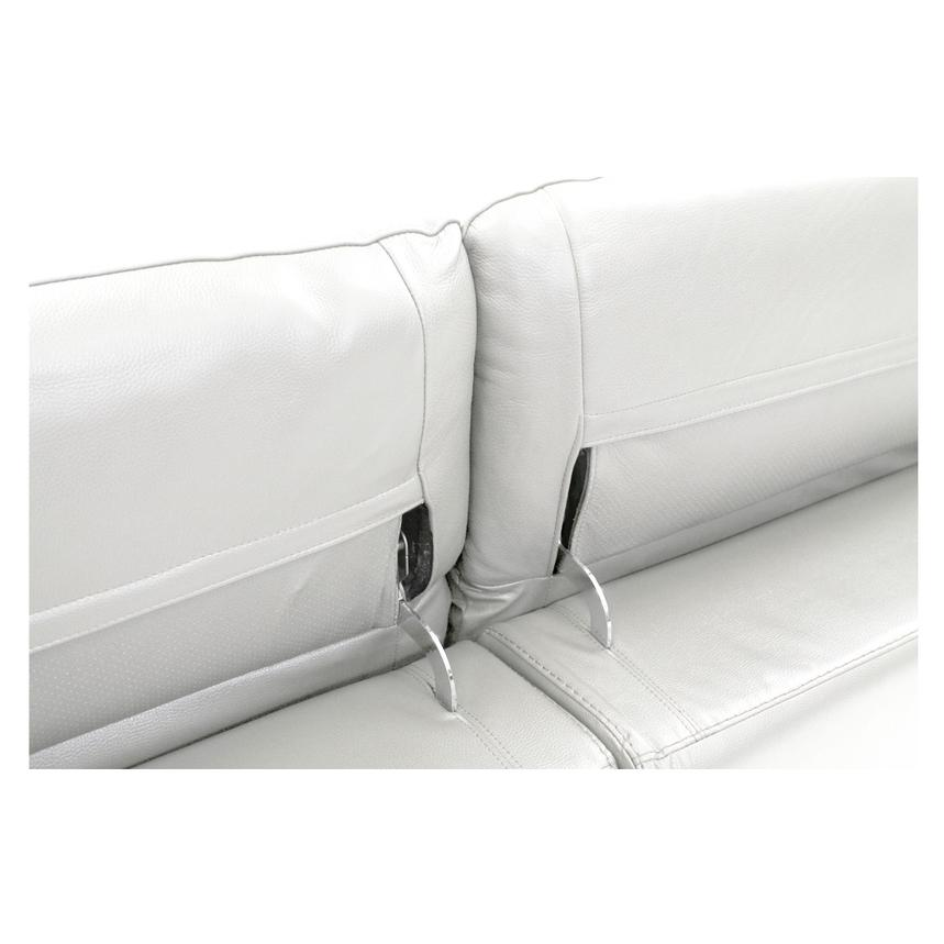 Davis White Power Motion Leather Sofa w/Right & Left Recliners  alternate image, 5 of 9 images.
