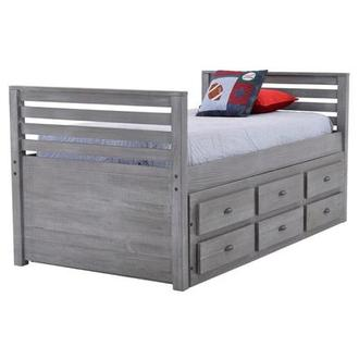 Montauk Gray Twin Storage Captain Bed Made in Brazil