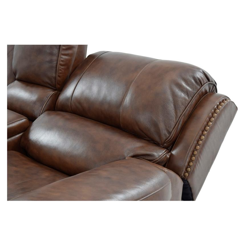 Durham Power Motion Leather Sofa w/Console  alternate image, 6 of 12 images.