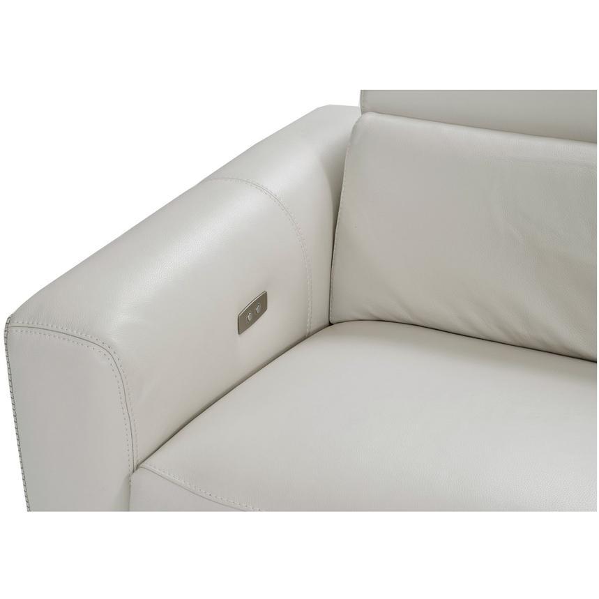 Bay Harbor Light Gray Leather Power Reclining Sectional W Right Sleeper El Dorado Furniture