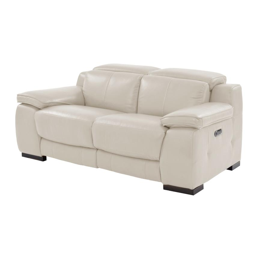 Gian Marco Cream Power Motion Leather Loveseat  main image, 1 of 8 images.