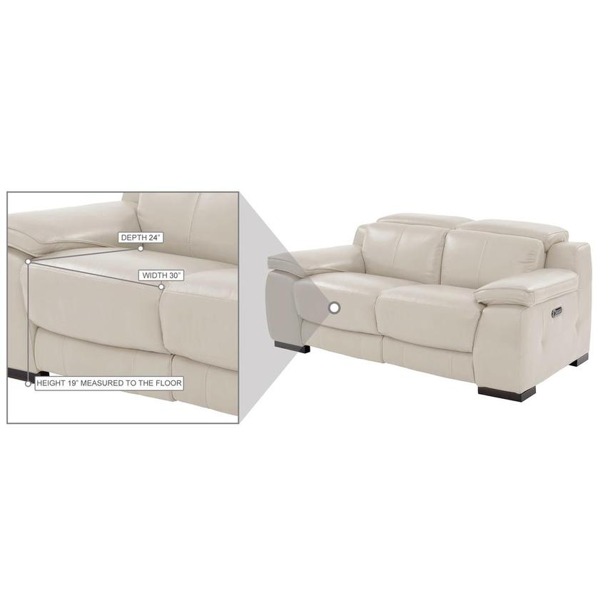 Gian Marco Cream Leather Power Reclining Loveseat  alternate image, 10 of 10 images.