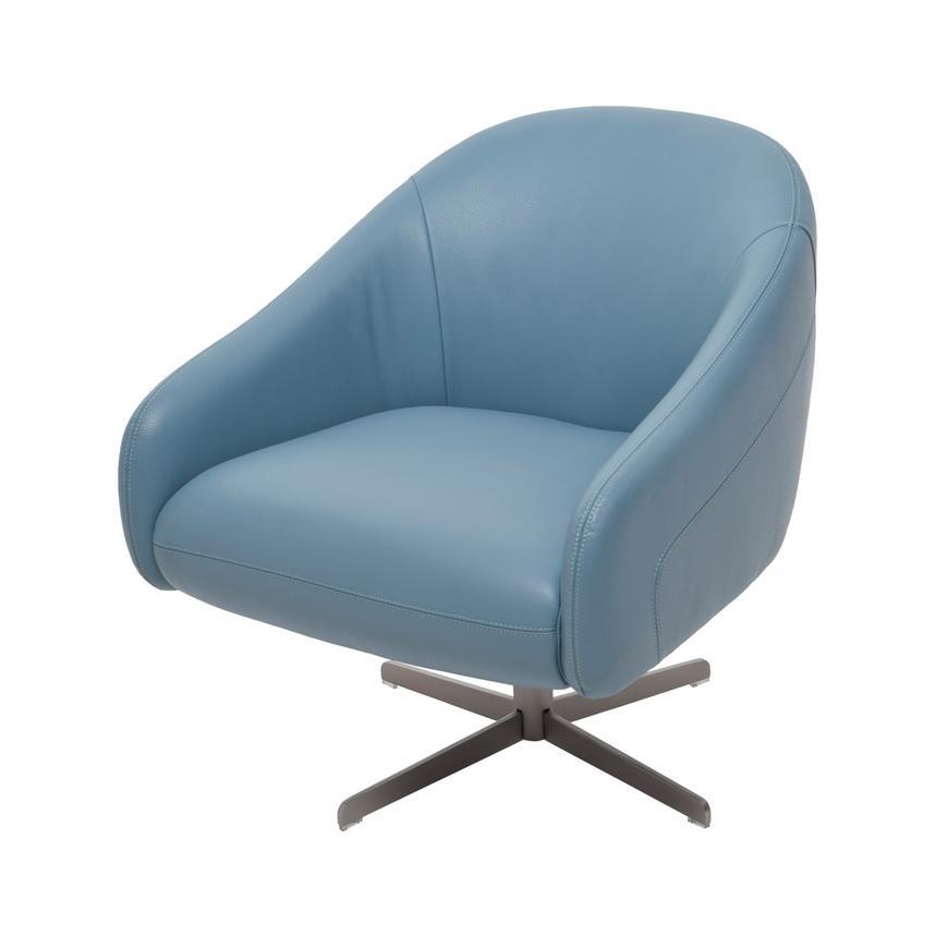 Greatest Brookville Blue Leather Swivel Chair | El Dorado Furniture JB11