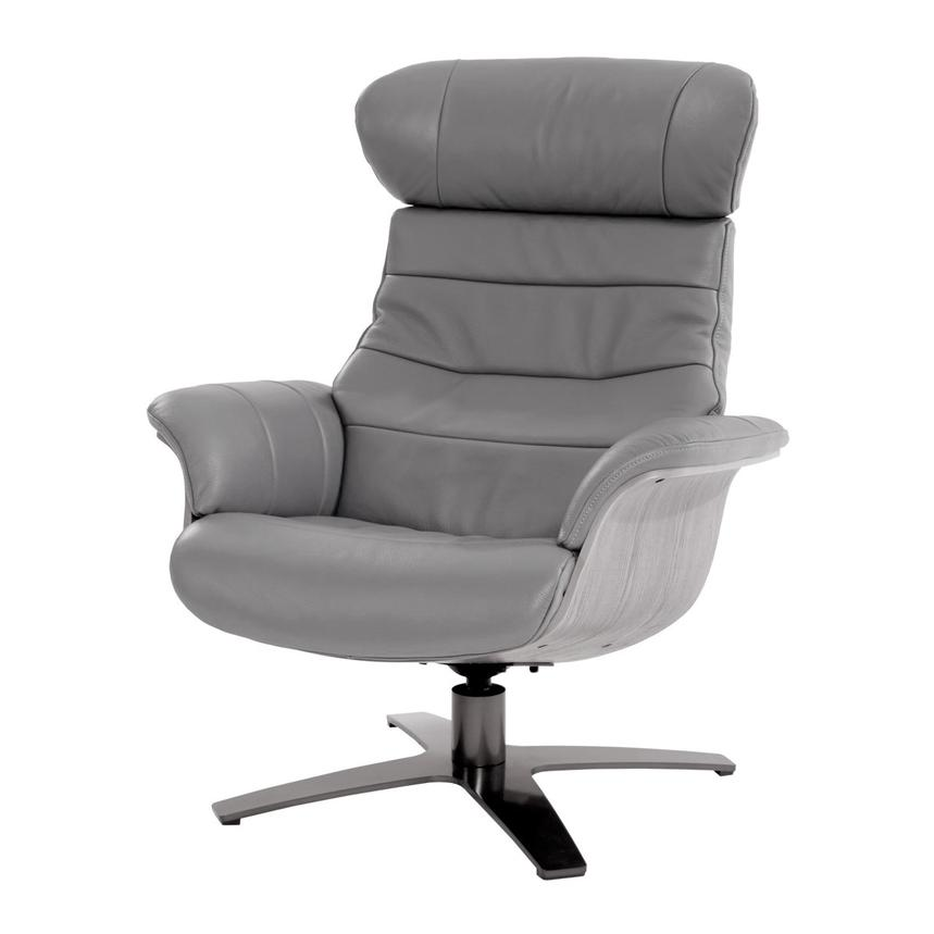Enzo Gray Leather Swivel Chair  main image, 1 of 10 images.