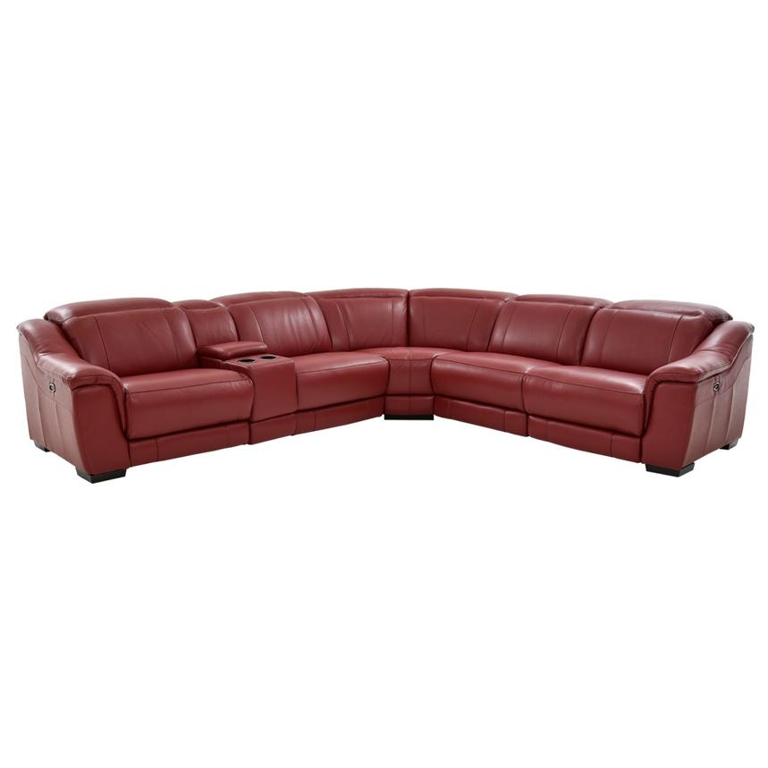 Davis Red Power Motion Leather Sofa w/Right & Left Recliners  main image, 1 of 11 images.